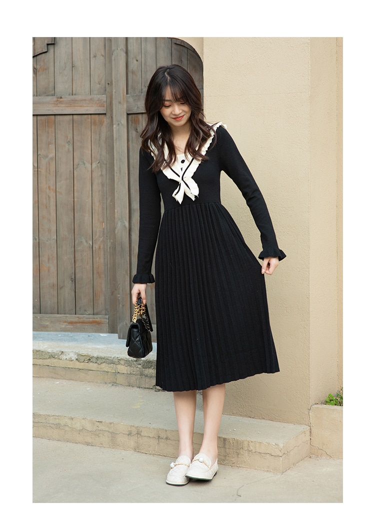 MISHOW 2020 Winter Dresses For Women Long Sleeve Casual Student Dresses Fashion A-Line High Waist Vestidos Clothing MX20D1118