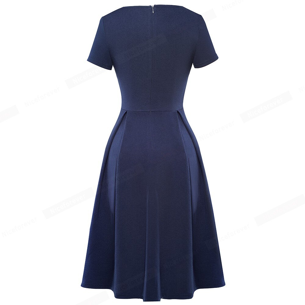 Nice-forever Summer Pure Color with Pockets Dresses Retro Pinup Casual Flared Women Dress A206