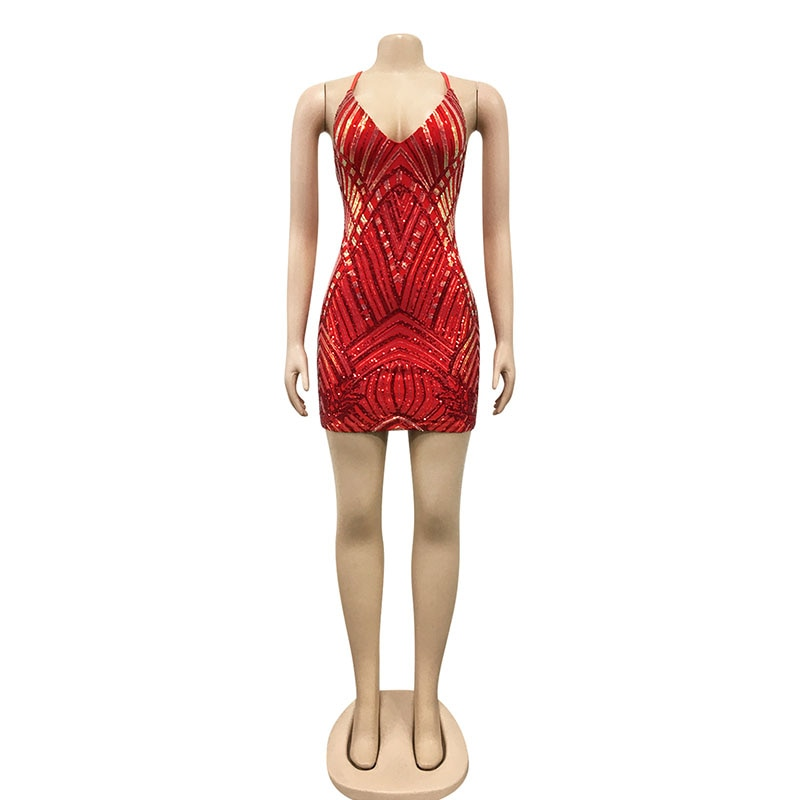 Bonnie Forest Womens Backless Bandage Sequins Party Dress 2021 New Spagetti Straps Bodycon Mini Dress Night Out Vestidos Robes