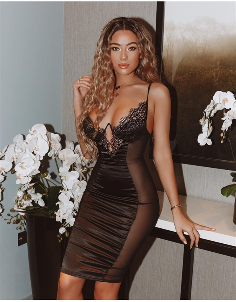 NewAsia Mesh Sexy Dress Women Summer Bodycon Dresses Bustier Satin Lace Side Sheer Cups Party Dress See Through Backless Robe