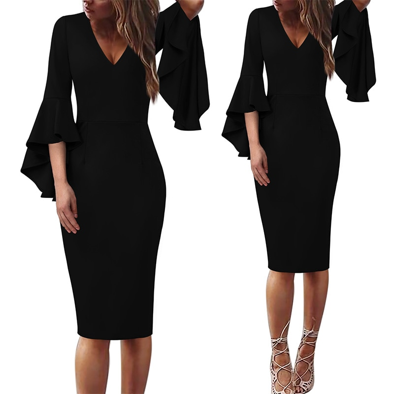 Vfemage Women Sexy V-neck Flare Bell Sleeve Snakeskin Leopard Fashion Slim Casual Cocktail Party Bodycon Pencil Sheath Dress 960
