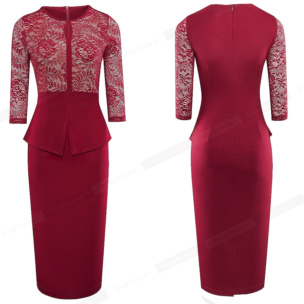 Nice-forever Autumn Elegant Lace Patchwork Dresses Business Party Bodycon Women Fitted Slim Dress B595