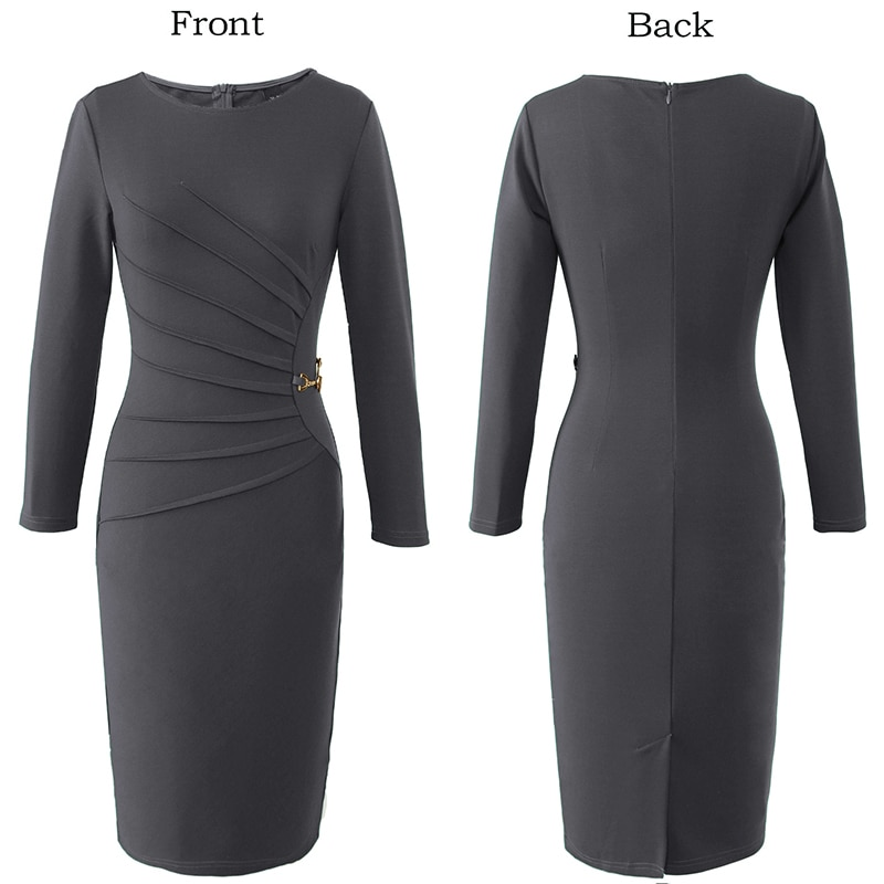 Vfemage Womens Autumn Celebrity Elegant Vintage Ruched Pinup Work Office Business Casual Party Fitted Bodycon Pencil Dress 1041