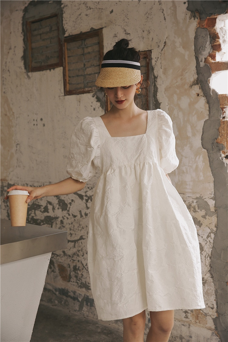 LANMREM 2021 new summer and autumn fashion women clothes Hubble-bubble Sleeve sqaure collar lantern sleeves pullover dress WH512