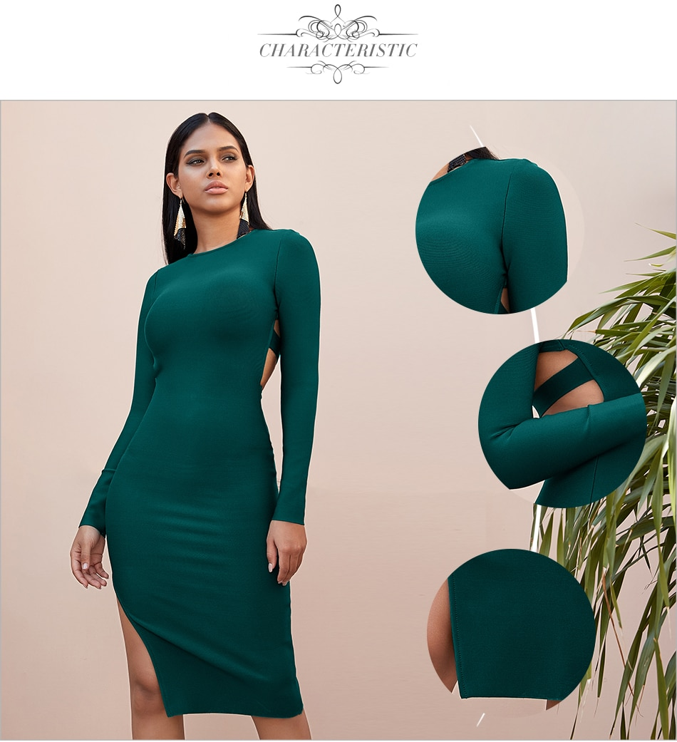 Adyce 2021 New Winter Long Sleeve Green Runway Bandage Dress Women Sexy Hollow Out Backless Club Celebrity Evening Party Dresses