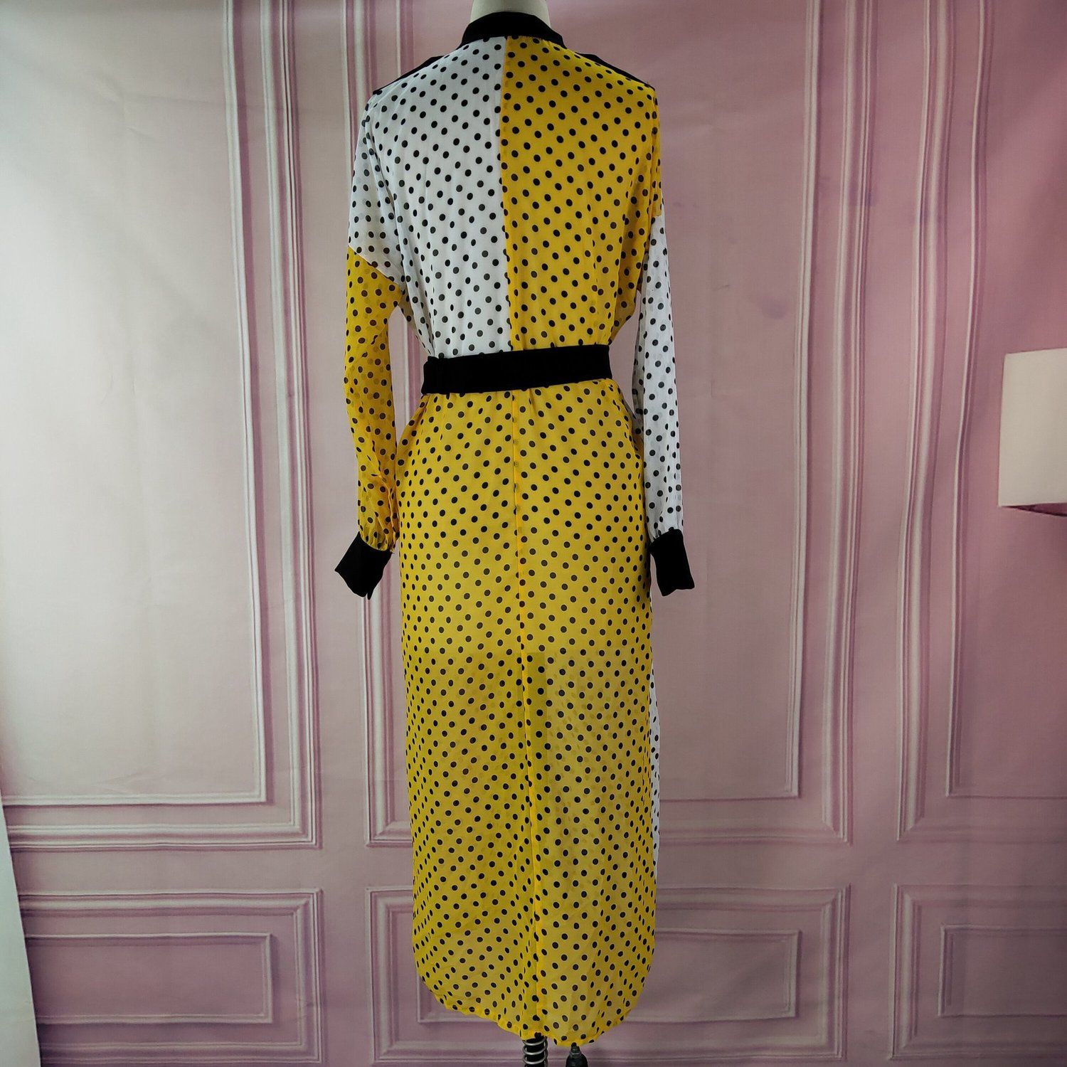 DEAT 2021 New Autumn And Summer Turn-down Collar Full Sleeves Polka Dots Printed Contrast Colors Shirt Dress WJ77807XXL