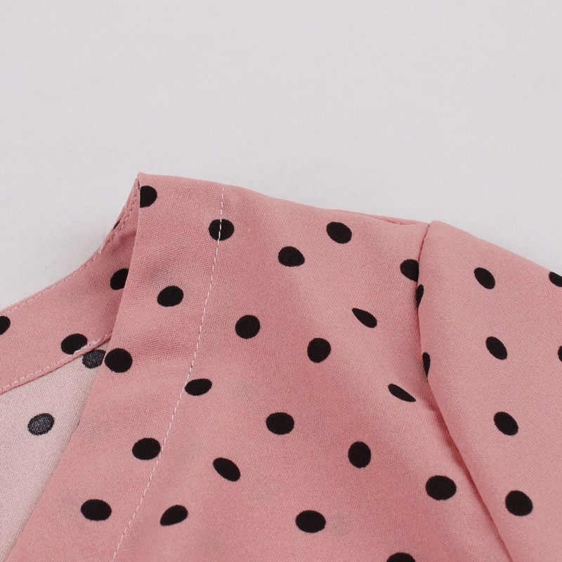 Tonval Pink High Waist Ruched Vintage Polka Dot Midi Dress Women Autumn 3/4 Length Sleeve Single Breasted Pleated Dresses