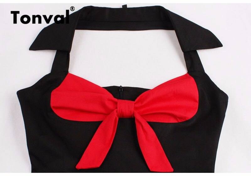 Tonval Red and Black Sexy Knot V-Neck Halter Party Vintage Dress Women Pin Up Fit and Flare Layered Elegant Midi Dresses