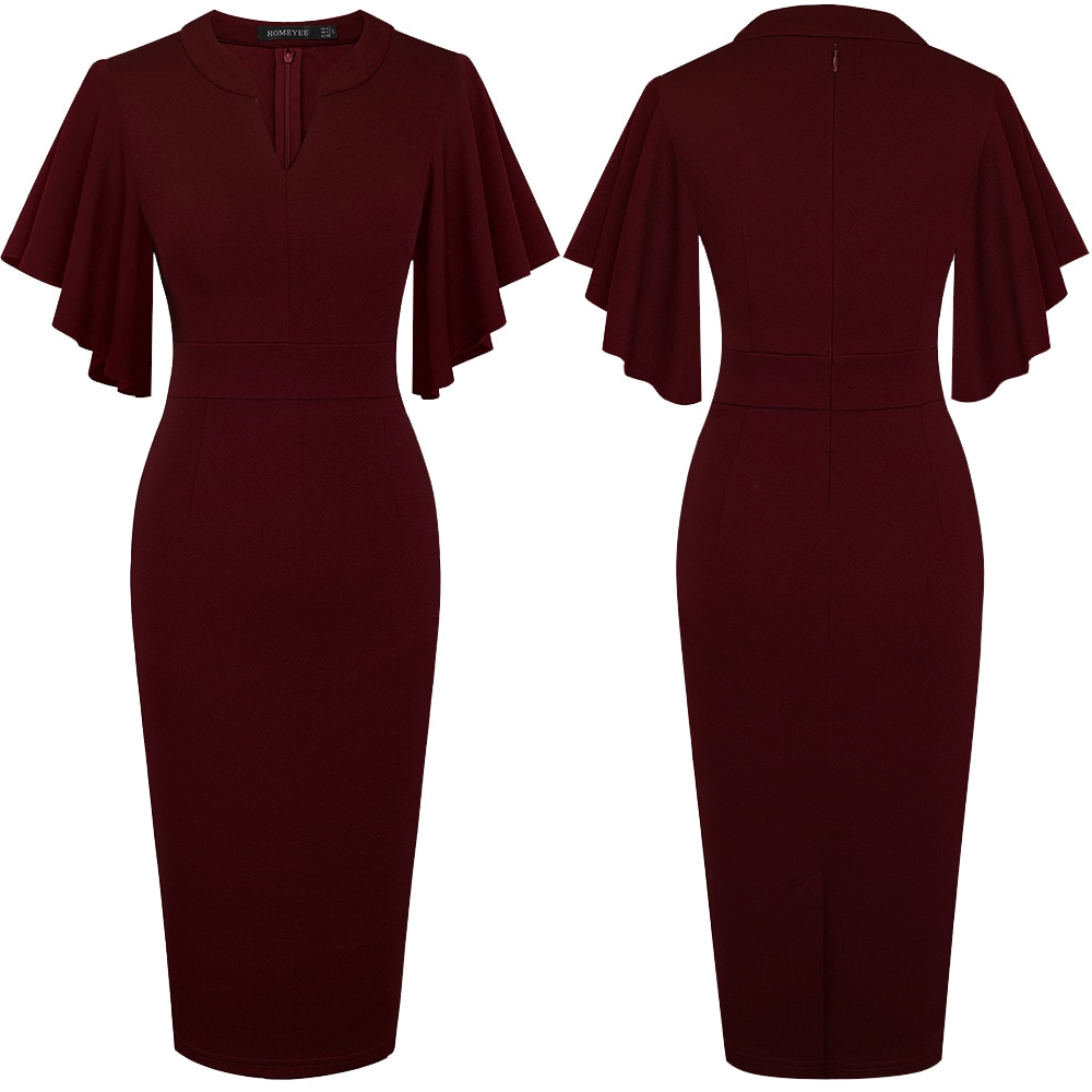 Nice-forever Vintage Solid Color Elegant Office Work vestidos Business Party Bodycon Ruffle Women Pencil Dress B572