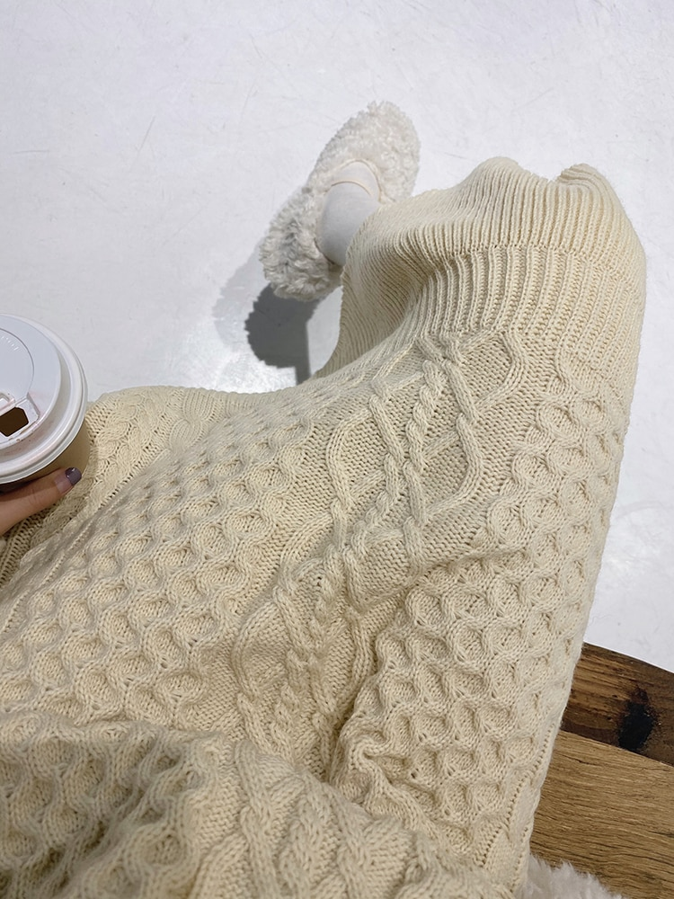 MISHOW Winter Women Sweater Dresses Sweety Solid Loose Round Neck Mid Long Knit Pullover Sweater Dresses MX19D5916
