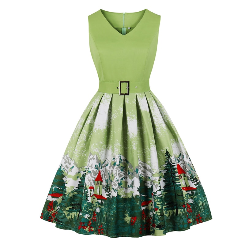 Tonval Retro Mountain and Tree Print Rockabilly Vintage Pleated Dresses Women V Neck Cotton Christmas Party Dress with Belt