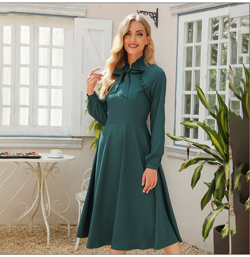 S.FLAVOR New Women Elegant Long Sleeve A Line Dress Bow Tie Neck Solid Ruffles Party Vestidos Spring Summer Casual Midi Dress