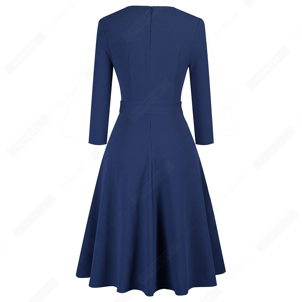 Women Brief Solid Color Retro Asymmetrical Neck Bow Side Buttons Party Casual Classy A-Line Dress EA241