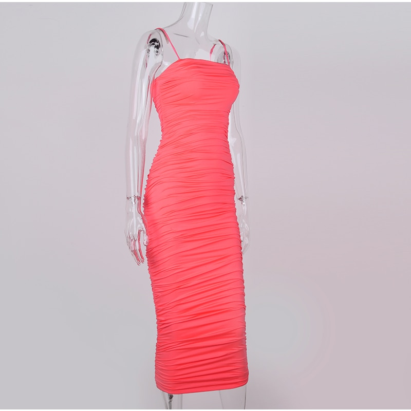 NewAsia 2 Layers Women Long Dress Bodycon Midi Sexy Dress Elegant Party Club Dresses Off Shoulder Ruched Pencil Dress Pink Robe