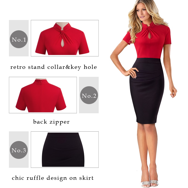 Nice-forever Vintage Contrast Color Patchwork Wear to Work Knot vestidos Bodycon Office Business Sheath Women Dress B430