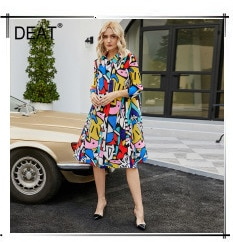 DEAT Pleated Dress Women Vintage Style Elegant Over Long Full Sleeve Long Length Solid Slim 2021 New Autumn Fashion HT348