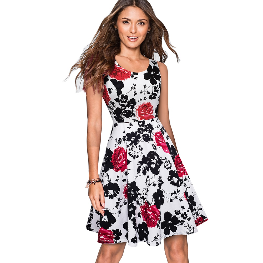 Nice-forever Summer Floral Printed Backless Retro Dresses Party Pinup Flare Women A-line Dress A063