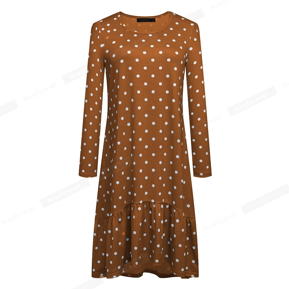 Nice-forever Retro Polka Dots Printed Casual Dresses Shift Loose Flare Autumn Women Dress A231