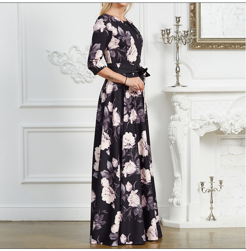 S.FLAVOR Women Chic Printing Long Dress Spring Fashion O-neck Max Party Vestidos Bohemian Style Women Casual Dresses