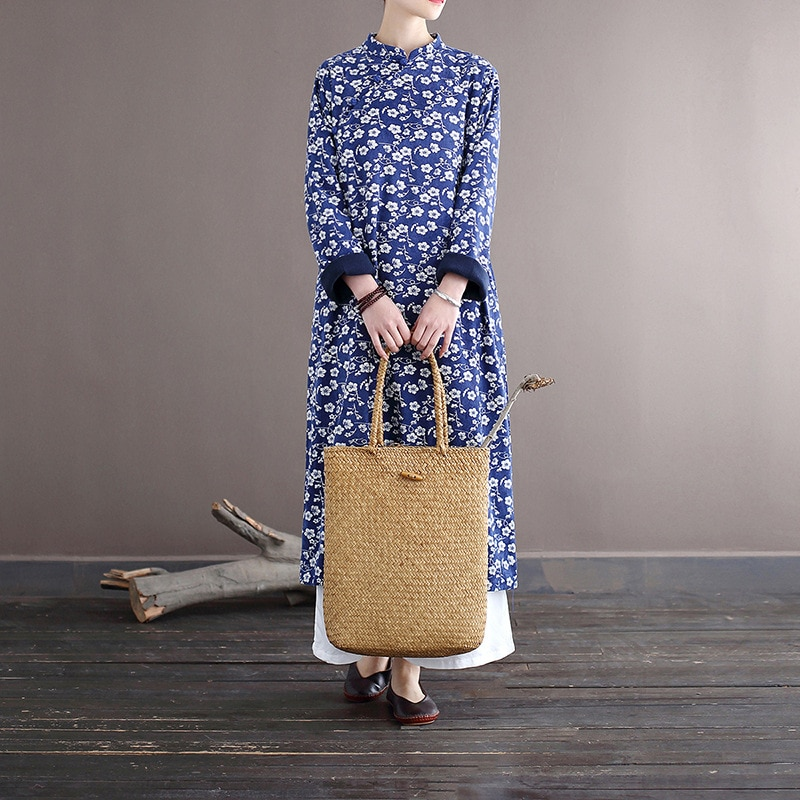 Johnature Women Corduroy Vintage Dresses Stand Long Sleeve Fleece Robes 2020 Autumn New Print Floral Button Chinese Style Dress