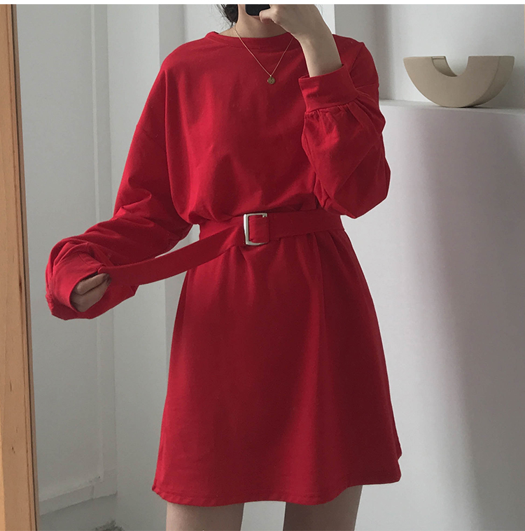 7 colors 2019 spring and autumn solid color Long Sleeve dress Women Korean style Dress women with belt (X218)