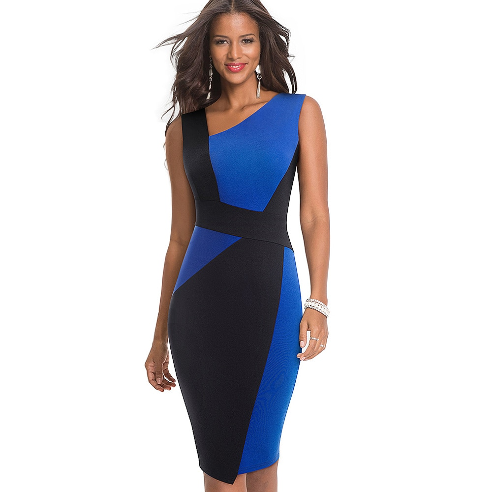 Nice-Forever Vintage Contrast Color Patchwork Wear to Work vestidos Business Party Bodycon Office Elegant Women Dress B517