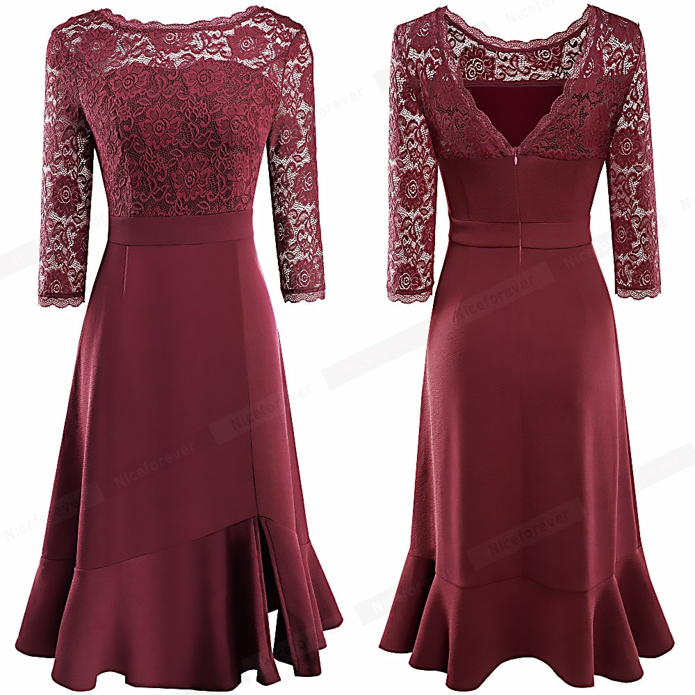 Nice-forever Vintage Pure Color with Floral Lace Patchwork Side Split Dresses Cocktail Party A-Line Women Flared Dress A225
