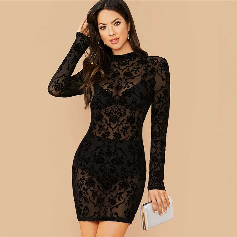SHEIN Black Floral Print Stand Collar Sexy Bodycon Dress Without Bra Women Spring Long Sleeve Sheer Glamorous Mini Dresses