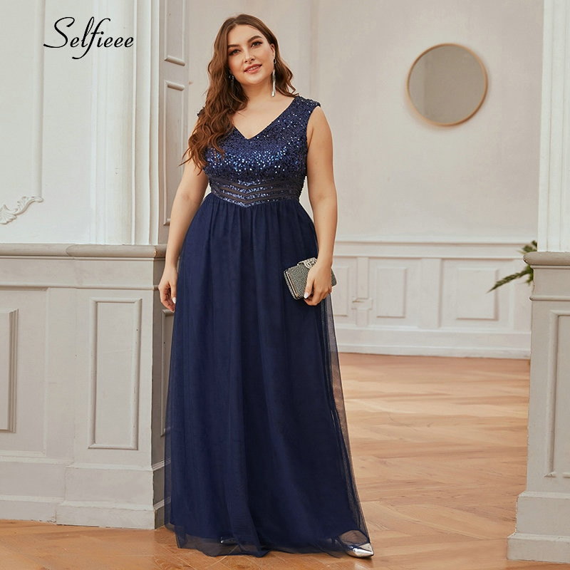 Plus Size Navy Blue Women Dress A-Line Double V-Neck Sequined Sleeveless Tulle Sparkle Evening Formal Party Dress Vestidos 2020
