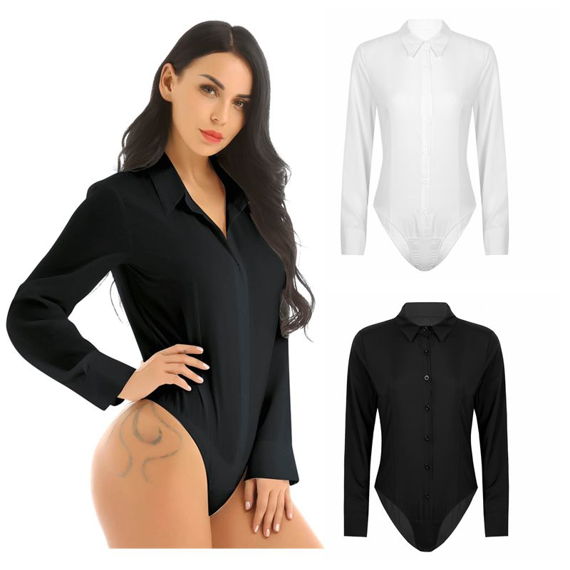 Elegant Bodysuits Female Fashion 2020 Long Sleeve Body Shirts Women Formal Office Lady White Blouses Plus Size Rompers Clothes