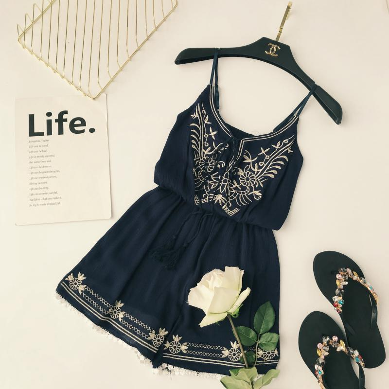 Summer Clothes Women Fashion Sexy V-neck Embroidery Jumpsuit Female Lace-up Wide Legs Bodysuit Beach Style Womens Rompers