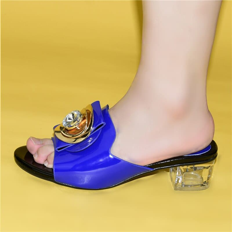New High Quality Med (5cm) Pump Women Shoes Decorated with Rhinestone Italian Style Woman Nigerian Party Pumps Ses High Heels
