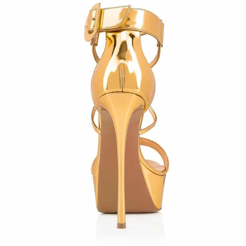 Onlymaker Women's Peep Toe Platfrom Cross-tied Thin High Heel 16CM  Stiletto Black Gold Color Party Dress Sandals